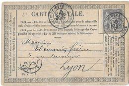 FRANCE - Carte Postale Sage Yv 66 - 15 C - Cad Rive De Gier 12 Sept 1877 - 1876-1878 Sage (Typ I)