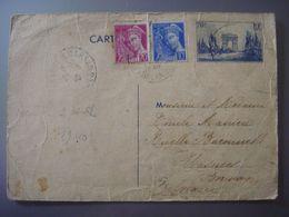 France - ENTIER POSTAL - 70 Cents Arc De Triomphe Paris Avec 2 Autres Timbres Envoyé De Mont De Marsan Vers Wasmes 1940 - Enteros Postales