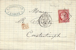 1873- Lettre D'ELBEUF ( S. Mar. )  Affr. N°57  SEUL Pour Constantinople - 1849-1876: Periodo Classico