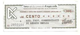 1976 - Italia - Banca Agricola Commerciale Di Reggio Emilia - Ass. Prov. Commercianti Di Reggio Emilia - [10] Checks And Mini-checks