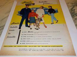 ANCIENNE PUBLICITE JIMIE HABILLE JEUNE   TERGAL  1956 - Habits & Linge D'époque