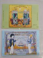 Lot 2 étiquettes CHAMPAGNE Cuvée Des Amoureux De PEYNET 2001 Et 2004  Robert Gervais JANVRY 51 Marne - Champagne