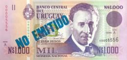 """Uruguay 1.000 Nuevos Pesos, P-67a (1989) - UNC - """"NON EMITIDO"""" Overprint - Uruguay"""
