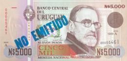 """Uruguay 5.000 Nuevos Pesos, P-68A (1989) - UNC - """"NON EMITIDO"""" Overprint - Uruguay"""