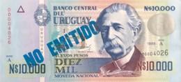 """Uruguay 10.000 Nuevos Pesos, P-68B (1989) - UNC - """"NON EMITIDO"""" Overprint - Uruguay"""