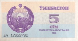 Uzbekistan 5 Sum, P-63 (1992) - UNC - Usbekistan