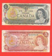 Canada 1 + 2 Dollari Dollars 1973 - 1974 - Canada