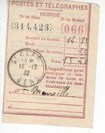 1535 Commune St CLAR Gers 32 Récépissé Postes Et Télégraphes Talon Mandat  12 12 1932 - Frankreich