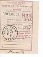 1536 Commune St CLAR Gers 32 Récépissé Postes Et Télégraphes Talon Mandat  25 07 1925 - Frankreich