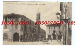 COTIGNOLA - PIAZZA VITTORIO EMANUELE E PALAZZO COMUNALE F/PICCOLO VIAGGIATA ANIMAZIONE - Ravenna