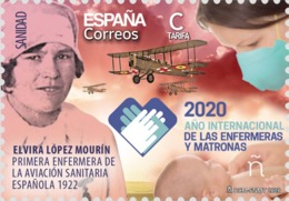 ESPAGNE SPANIEN SPAIN ESPAÑA 2020 NURSES AND THE MATRONAS ENFERMERAS Y LAS MATRONAS. ELVIRA LÓPEZ MOURÍN MNH ED 5406 MI - 1931-Aujourd'hui: II. République - ....Juan Carlos I