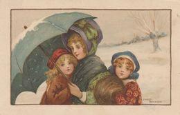 CPA Enfant Fillette Paysage De Neige Parapluie Pébroque Pépin Fantaisie Illustrateur E. PARKINSON ( Scans) - Parkinson, Ethel