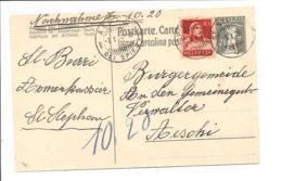 Schweiz P 56 II - 7 1/2 C Tell Karte Links Gezähnt M. 10 C. ZF Per Nachnahme Von St. Stefan Nach Aeschi Bedarfsverwendet - Ganzsachen