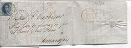 REF1364/ TP 7 S/LAC Manufacture De Cuivre écrit De Moulins (Dinant) Envoyé De BXL C.Bruxelles 21/3/1855 P 24 > Jemmapes - Marcophilie