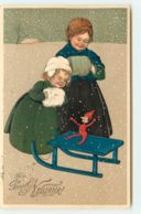 N°15386 - Carte Gaufrée - Flatscher - Prosit Neujahr - Fillettes Regardant Un Jouet Sur Une Luge - New Year