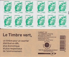 Marianne Verte De Beaujard, 2 Carnets De 12 TVP Autoadhésifs N° 604-C1 (Le Timbre Vert), Neuf ** - Usage Courant