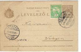 HONGRIE 1910: CP (entier De 5f) De Resicza Pour La Suisse Avec Affr. Compl. De 5f Et Obl. CAD,   B à TB - Brieven En Documenten