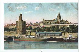 SEVILLA : Torre Del Oro Y Puerto - Coleccion Tomas Sanz - Sevilla