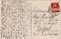 1916  Cachet Delemont Suisse / + Cachet Censure France / Sur CPA Fantaisie Pâques / Guerre 14-18 - Postmarks