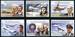 Guinée Guinea Guiné Bissau 2008 Pionniers Aviation Wright, Lindbergh, Sikorsky, Turcat, Concorde, Airbus A-380 - Airplanes
