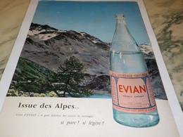ANCIENNE PUBLICITE ISSUE DES ALPES  EVIAN 1958 - Affiches