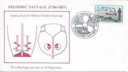 Pas De Calais Boulogne Sur Mer 1986 Frédéric Sauvage Adaptateur De L'hélice Navigation Bateau Sur Enveloppe Illustrée - Marcophilie (Lettres)