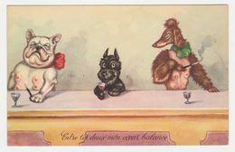 Humour Chiens Humanisés Entre Les 2 Mon Coeur Balance Illustrateur ? VOIR DOS Carte JG N°502/3 - Dressed Animals