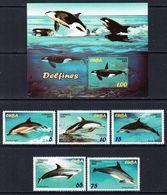 2004 Cuba Dolphins Whales Orca Complete Set Of 5 + Souvenir Sheet  MNH - Neufs