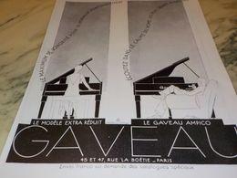 ANCIENNE PUBLICITE PIANO  DE GAVEAU 1928 - Music & Instruments