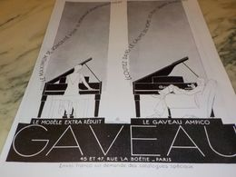 ANCIENNE PUBLICITE PIANO  DE GAVEAU 1928 - Musik & Instrumente