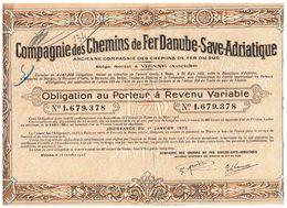 Titre Ancien - Compagnie Des Chemins De Fer Danube-Save-Adriatique - Obligation De 1923 - - Chemin De Fer & Tramway