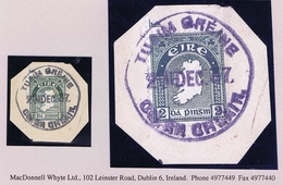 Ireland Clare 1937 Tuamgraney Rubber Climax Dater TUAIM GREINE CO AN CHLAIR 21 DEC.37 On 2d Map On Piece - Irlande