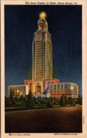 Louisiana Baton Rouge State Capitol Building At Night 1949 Curteich - Baton Rouge
