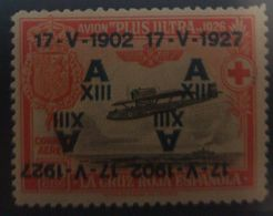 O) 1927 SPAIN, RED CROSS ISSUE, RAMON FRANCO'S PLANE PLUS ULTRA - AIR POST SEMI-POSTAL STAMP, DOUBLE OVERPRINT AND ONE - Variedades & Curiosidades