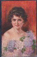 C060 A/s VECCHI Portrait De FEMME FLEURS BEAUTIFUL LADY FLOWERS - Other Illustrators