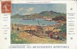 """1908- C P A Des Messageries Maritimes  """" Le Djemmah En Rade"""" ( Mayotte) Affr. 10 C Semeuse Oblit. Maritime - Lettres & Documents"""
