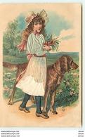 N°10831 - Carte Fantaisie Gaufrée - Fillette Et Chien (robe En Tissu) - Autres