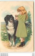 N°10830 - Carte Fantaisie Gaufrée - Fillette Et Chien (robe En Tissu) - Autres