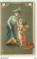 N°13050 - Carte Gaufrée - Bonne Fête - Ange Offrant Une Rose à Une Jeune Femme - Fêtes - Voeux