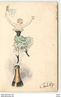 N°13003 - Jeune Femme Dansant Au-dessus D'une Bouteille De Champagne - Illustrators & Photographers