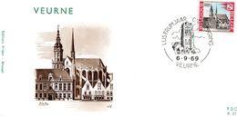 1503 (Veurnes - Furnes : La Grand Place) Sur FDC P271 Cachet Veurne 6-9-1969 (dessin église Saint-Nicolas) - FDC