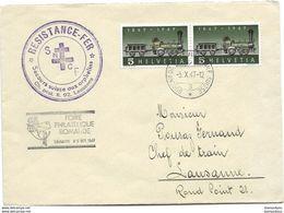 """123 - 78 - Enveloppe Avec Oblit Spéciale """"Foire Philatélique Romande Lausanne 1947"""" Superbe Cachet """"Résistance Fer SNCF - Marcophilie"""