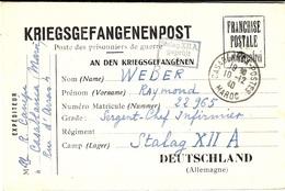 """1000-12- 1940 - Formulaire """" Bilingue """"  De Casablanca ( Maroc )   Pour Le Stalag XII A - WW II"""
