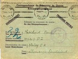 """1000-12- 1940 - Formulaire """" Bilingue """"  Des Sables D'Olonne ( Vendée )   Pour Le Stalag I A- Oblit. Krag  De La Guerre - Storia Postale"""