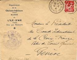 1941- Enveloppe De L'Île D'Aix ( Charente INF.re ) Cad 1 Cercle Pointillé  Avec Cad De La Mairie -pour Genève - Storia Postale