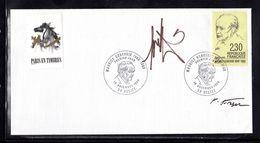 """"""" MAURICE GENEVOIX """" DOUBLEMENT SIGNE Sur Enveloppe 1er Jour De 1990 (dont RAYMOND MORETTI) N°YT 2671 Parf état FDC - Documents De La Poste"""