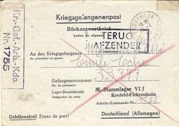 1945- Formulaire  Du STALAG VI J   En Réponse  Le P G Est Encore à L'Arbeits-Kommando-Nr. 1755 - Poststempel (Briefe)