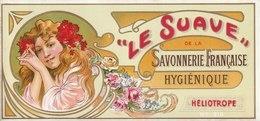 Étiquettes De Savon,  Le Suave - Héliotrope - Savonnerie Française - ( 196 Mm X 92 Mm ) - Etichette