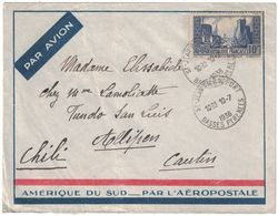 1936 - TIMBRE 261 LA ROCHELLE SEUL SUR LETTRE PAR AVION Pr LE CHILI ÉTRANGER CAD ST JEAN PIED DE PORT BASSES PYRENÉES - Marcophilie (Lettres)