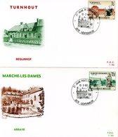 1571/72 (série Complète Abbaye Marche-les-Dames & Béguinage Turnhout) Sur 2FDC P324 & P325 Cachet Lichtervelde 13-3-1971 - FDC